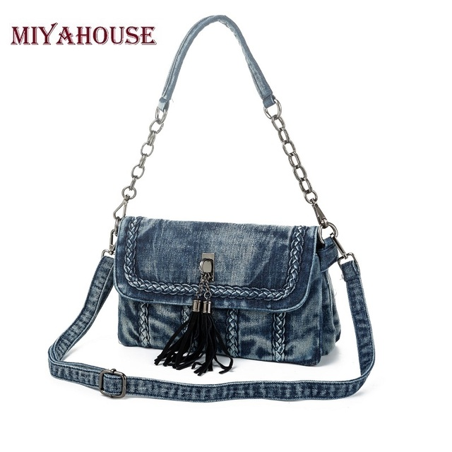 Miyahouse Fashion Denim Shoulder Bags Classical Small Women Handbags Vintage Jeans Crossbody Bag Tassel Messenger