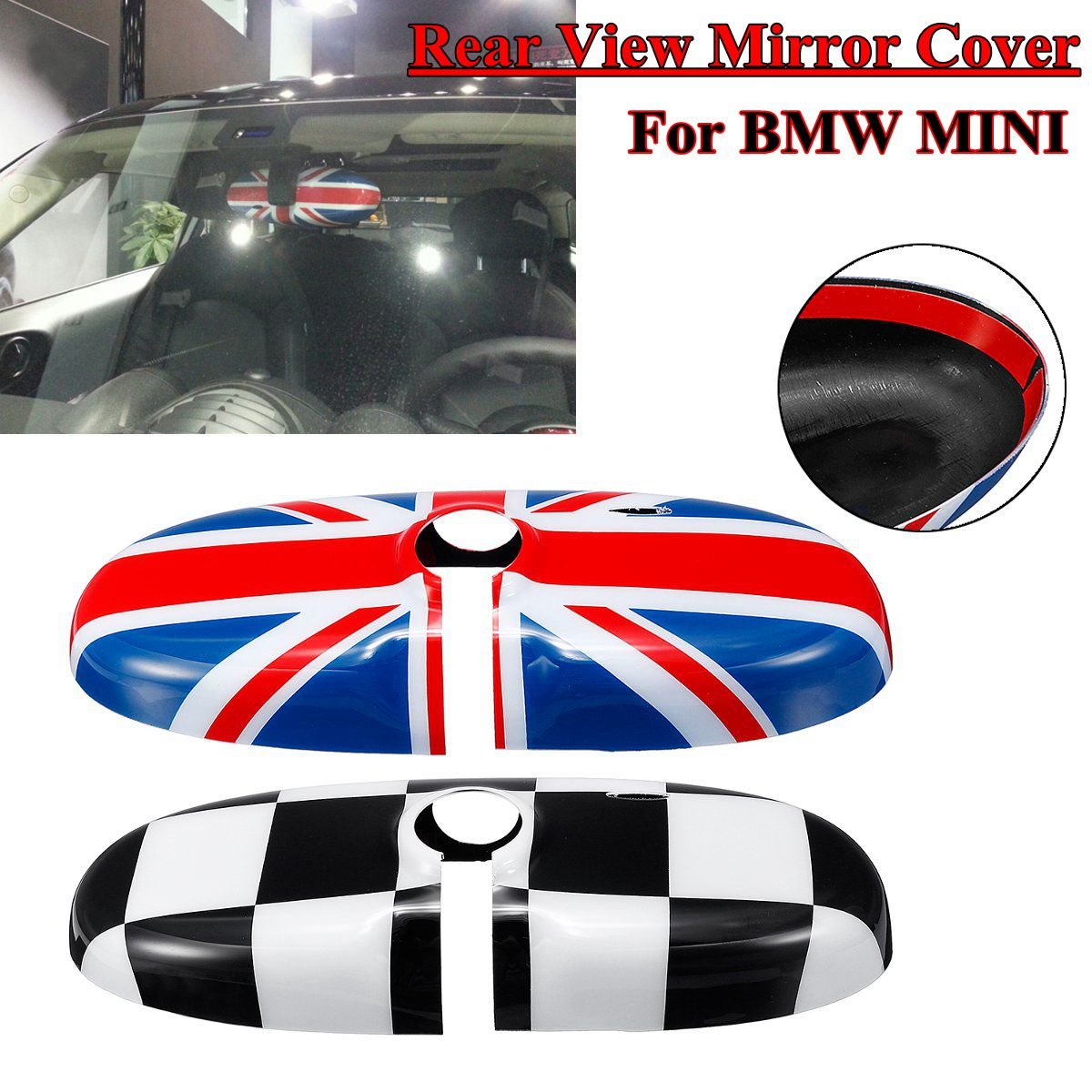 For Mini Cooper S R55 R56 R60 Countryman Styling 2008-2016 Car Rear Abs Red Union Jack Rearview Mirror Cover Decoration Accessor universal union jack 38cm pu leather car steering wheel cover decoration for mini cooper jcw s clubman countryman car styling