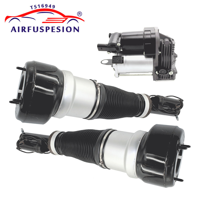Pair Front Air Suspension Shock Air Compressor Pump for Mercedes W221 S CLASS 2213201604 2213204913 2213205113 2213201704