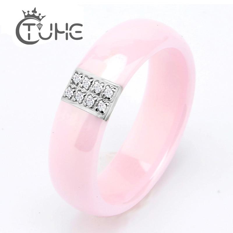 Hot výprodej Růžový prsten ženy z nerezové oceli postříbřené růžový keramický prsten 6 mm přírodní kámen značky prsten pro ženy výročí dárek