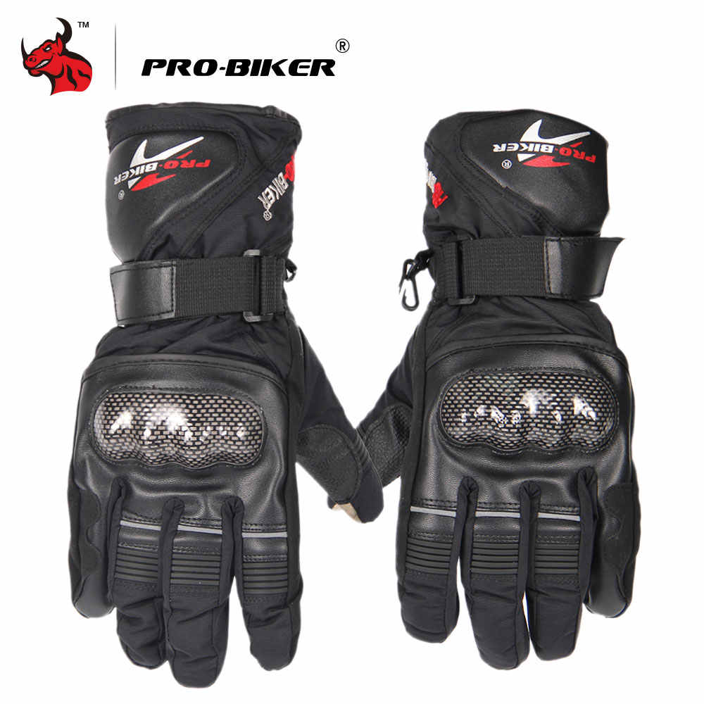 PRO-BIKER Moto Gloves Outdoor Sports Warm Windproof Motorcycle Gloves Non-slip Motorbike Gloves Black Blue Red HX-05