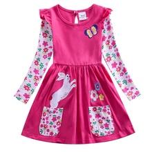 Retail 2017 new girls dress vestidos infantil children clothing kids clothes long sleeve floral girl H5802