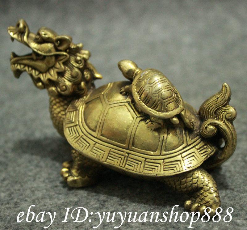 Populaire chinois laiton FengShui longévité Shou Dragon tortue tortue tortue Statue animaux jardin décoration 100% réel laiton - 3