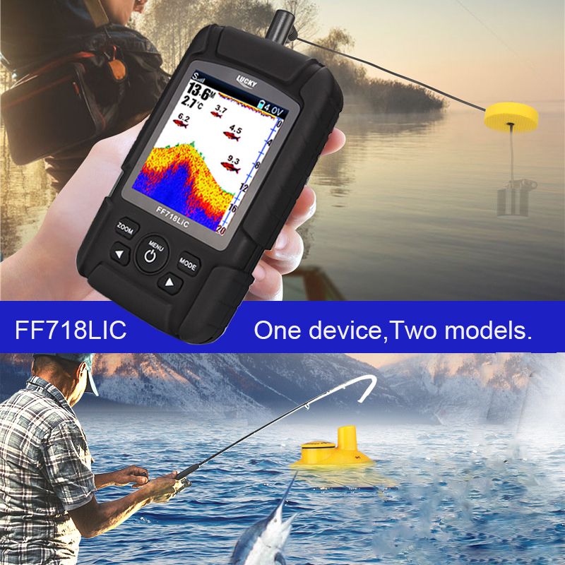 Lucky FF718LiC Real Waterproof Fish Finder Monitor 2-in-1 Wireless Sonar 328ft /100m fishfinder depth Sonar Wired Transducer #B7 lucky ff718 lic