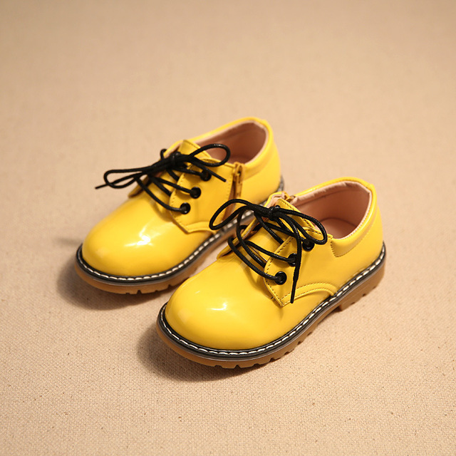2016 spring fashion lace up children shoes girls boys shoes pu leather shoes with side zip soft waterproof kids casual shoes