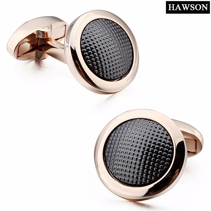 High Quality Best Gift for men Rose Gold Cuff Links with Little Dot Long Sleeve Shirts Metal Cufflinks Jewelry