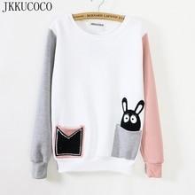 JKKUCOCO mix color pocket cartoon rabbit sweatshirt Women hoodies long sleeve O-neck fleece inside warm cotton sweatshirts 723