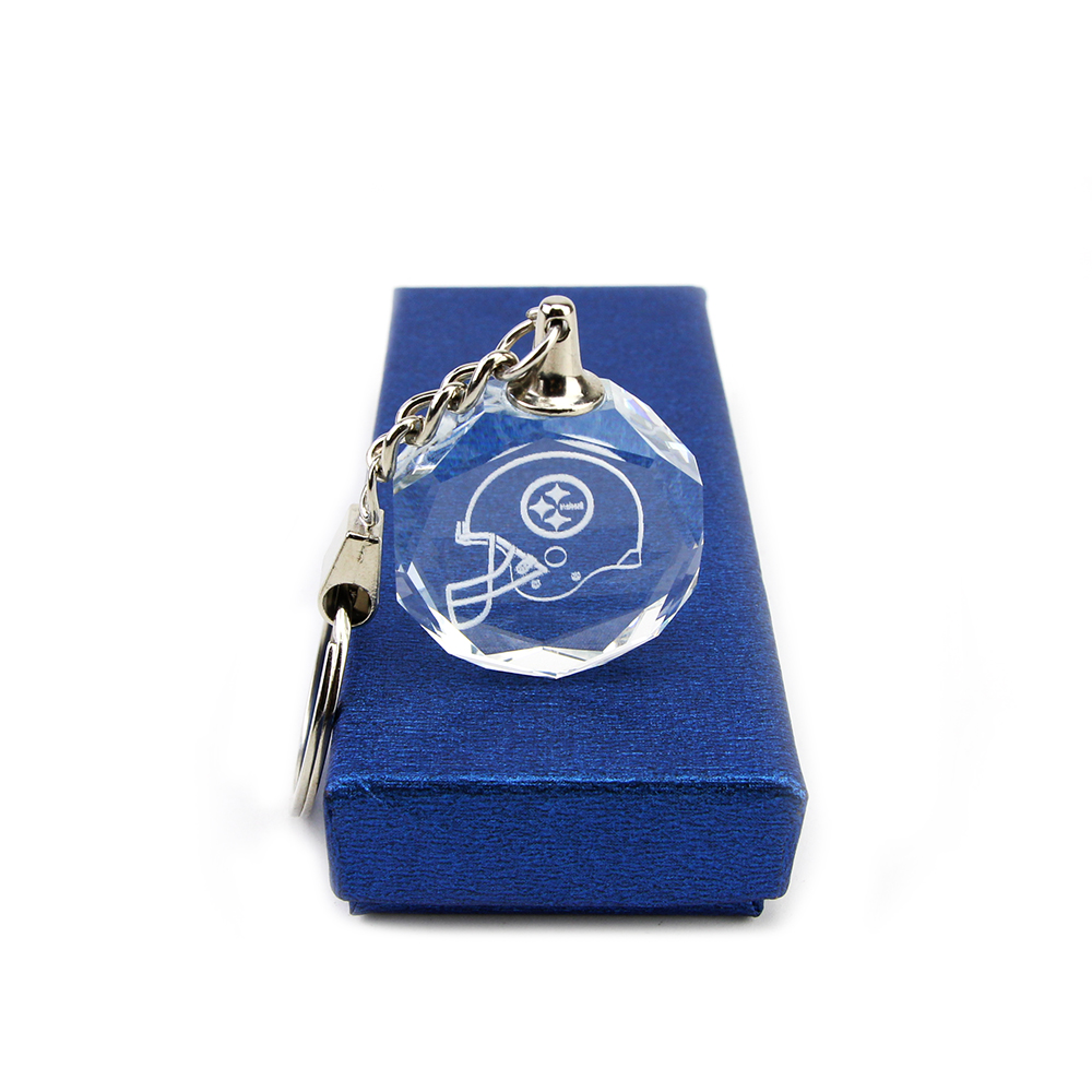 New Arrival Hot Selling Pittsburgh Steelers K9 Crystal Keychain Charm Jewelry Octagonal Alloy Keychain