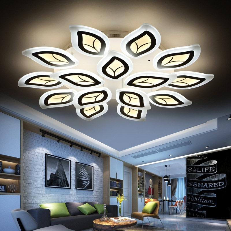 HSHIXINMAO The New Type Acrylic Ceiling Living Room Light Leaves Study Bedroom LED Electrodeless Dimming Lamps AC90 260V