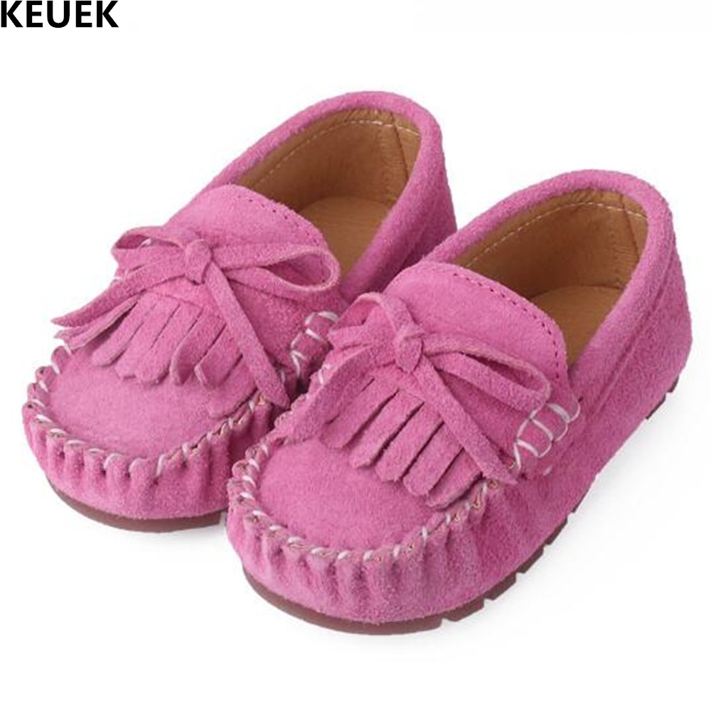 New Spring/Autumn Pink Tassel Bowtie Girls Shoes Baby Genuine Leather Loafers Toddler Shoes Slip-On Princess Kids Flats 02