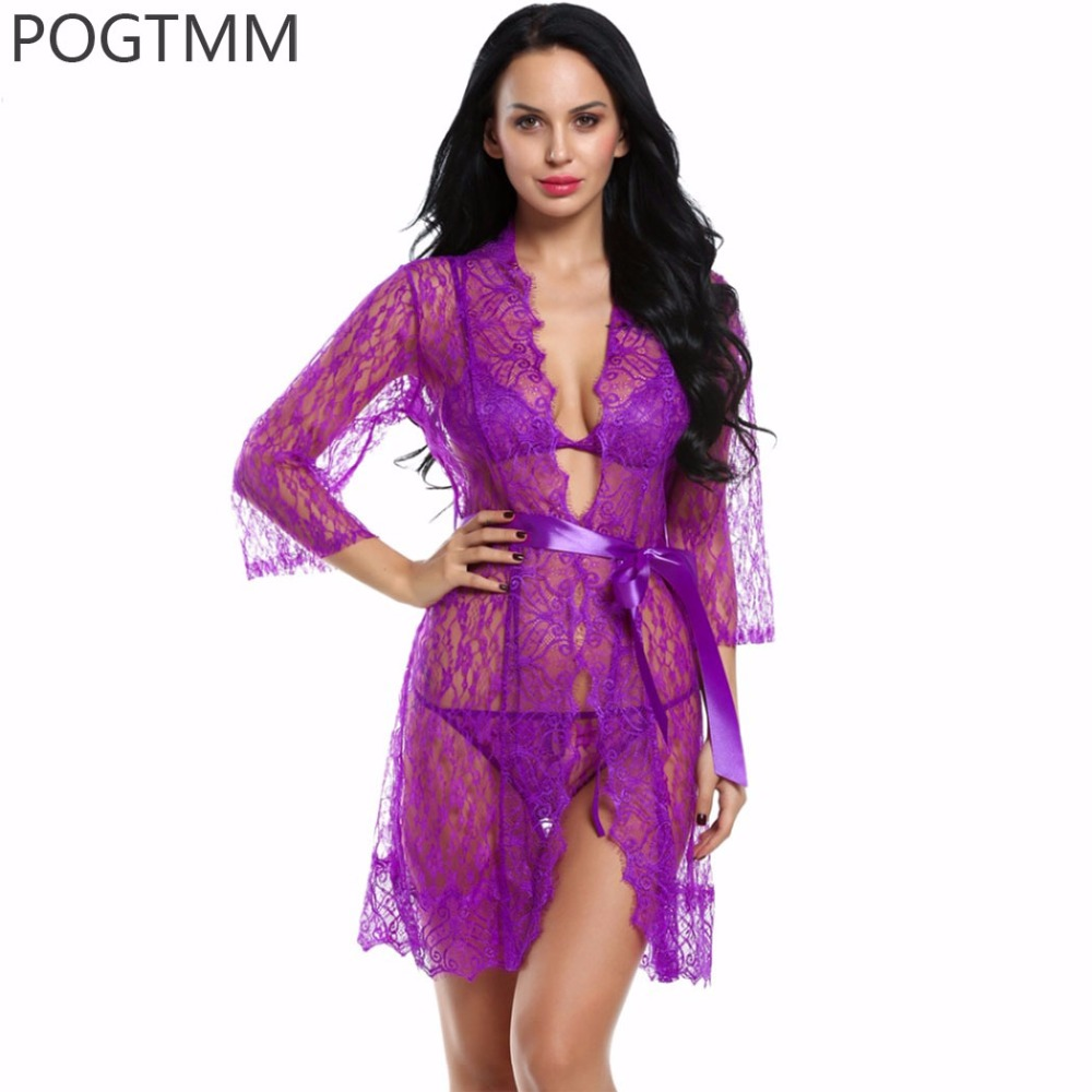 4 Pieces Set Women Sexy Lingerie Hot Erotic Sex Lace Robe Unlined Bra G-string Nightwear Sleepwear Porn Exotic Costumes XXL L3