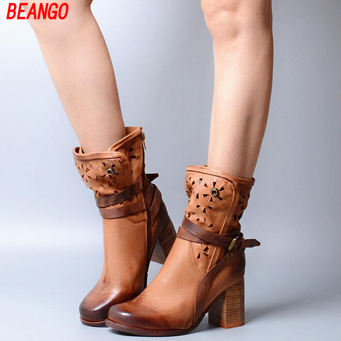 BEANGO British style woman Square high heel leather do old boots hollow leather belt buckle ankle