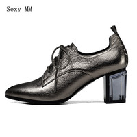 Genuine Leather High Heels Women Pumps Woman High Heel Office Career Shoes Kitten Heels High Quality