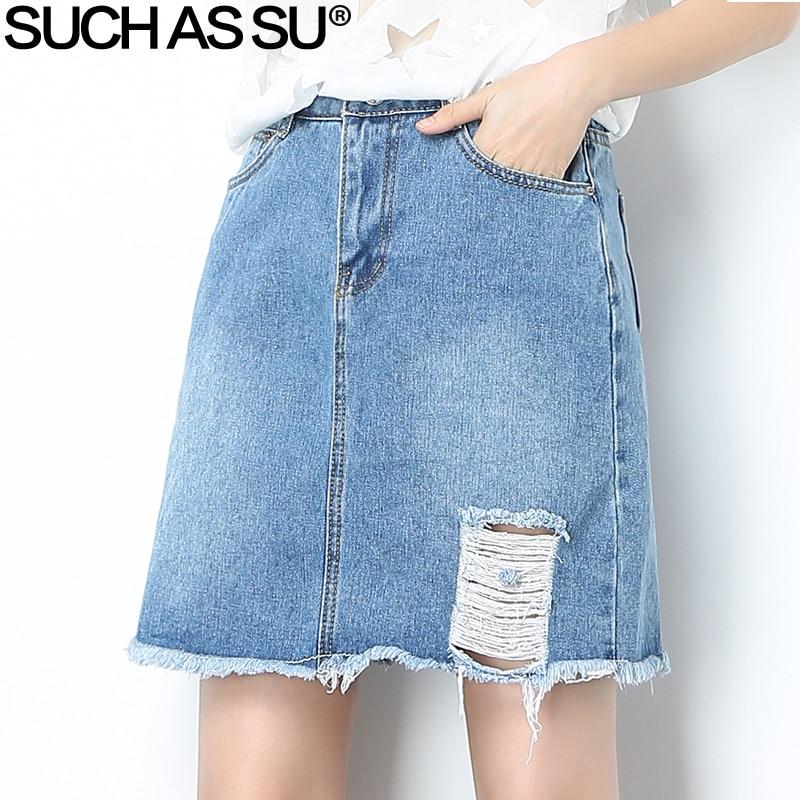 df02492ca Nuevo 2018 Casual moda coreana jean Mini Falda Mujer agujeros azules borla  alta cintura una línea ...