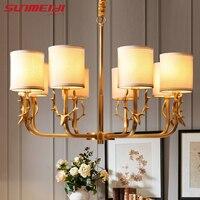 Современные светодио дный светодиодные люстры столовая американский стиль блеск de plafond для гостиной кровать рога украшения