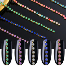6 pcs/pack 3D Diamond Shape Nail Art Rhinestones Holographic Beads Colorful Jewelry Chain Gems Nail Decorations Accessories(China)