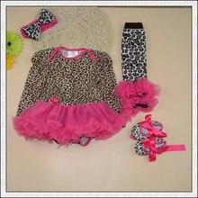 4PCs per Set Infant Lace Romper Leopard Baby Girls Long Sleeves Tutu Dress Headband Shoes Leggings for 0-12months Free Shipping