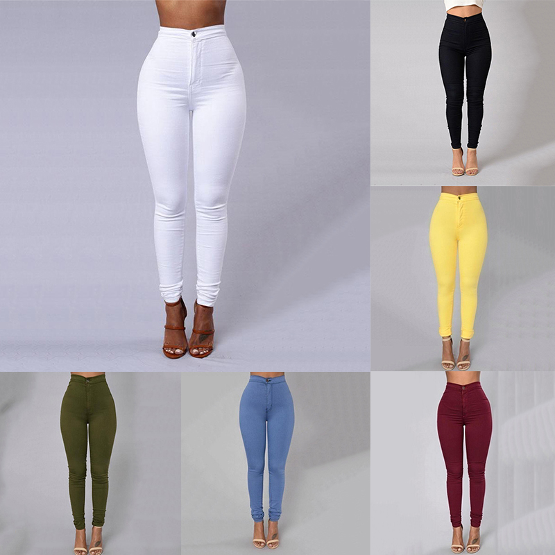 LNRRABC Fashion Multicolor High Street Women Skinny Jeans High Waist Pencil Stretch Casual Look Elasticity Jeans Pencil Pants women casual jeans blue black gray stripe skinny jeans women fashion pants