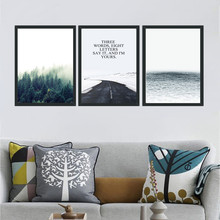 Landscape Picture Nordic Canvas Painting Forest Road Print Poster Wall Art Living Room Home Decor No Frame