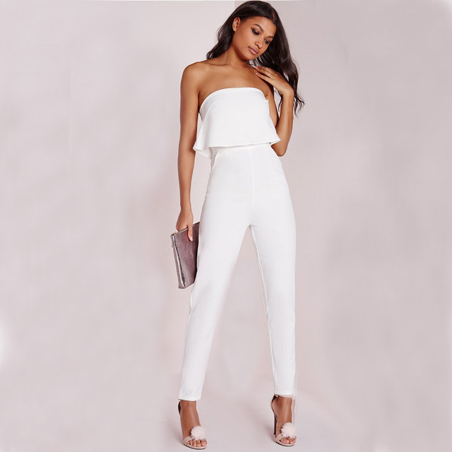 QA232 Top selling sexy office overalls women white ruffles elegant rompers tube top fitness jumpsuit