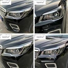 Lapetus Accessories Fit For Subaru Forester 2019 ABS Front Head Lights Lamp Eyelid Eyebrow Strip Molding Cover Kit Trim 2 Piece