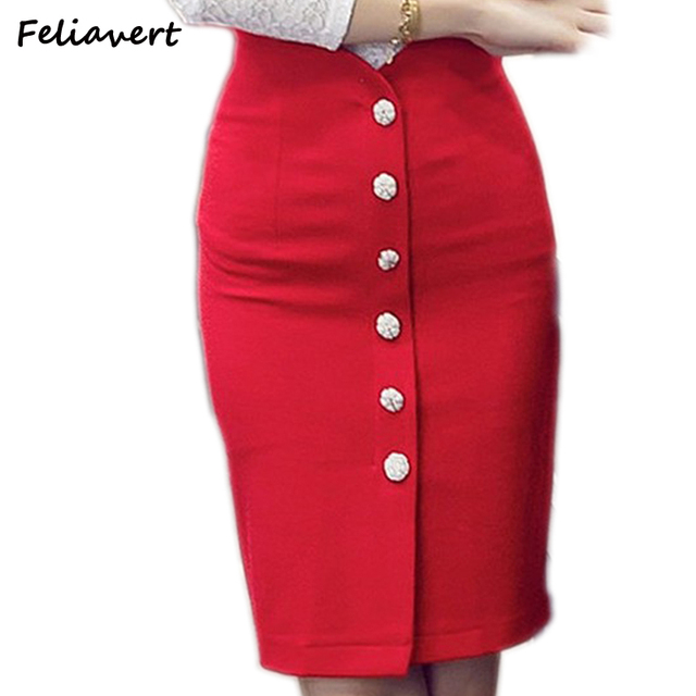 Feliavert 2017 New Plus Size Women Skirt Fashion Elegant Sexy Slim High Waist OL Womens Stretch Button Pencil Skirt 5XL