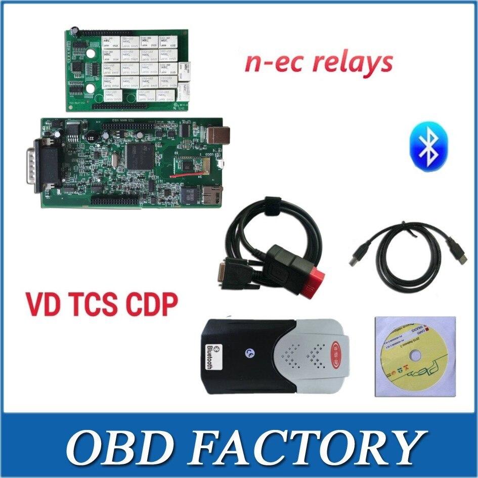 Prix pour VD TCS CDP PRO 2015.3 R3 avec keygen nouvelle vci double vert PCB avec nec RELAIS Bluetooth outil De Diagnostic