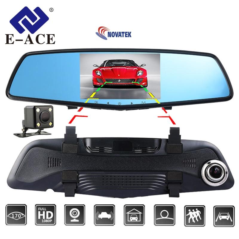 E-ACE Car Dvr Novatek NTK96655 Auto Camera 4.5 Inch IPS Rearview Mirror Dual Camera Lens Night Vision FHD 1080P Video Recorder