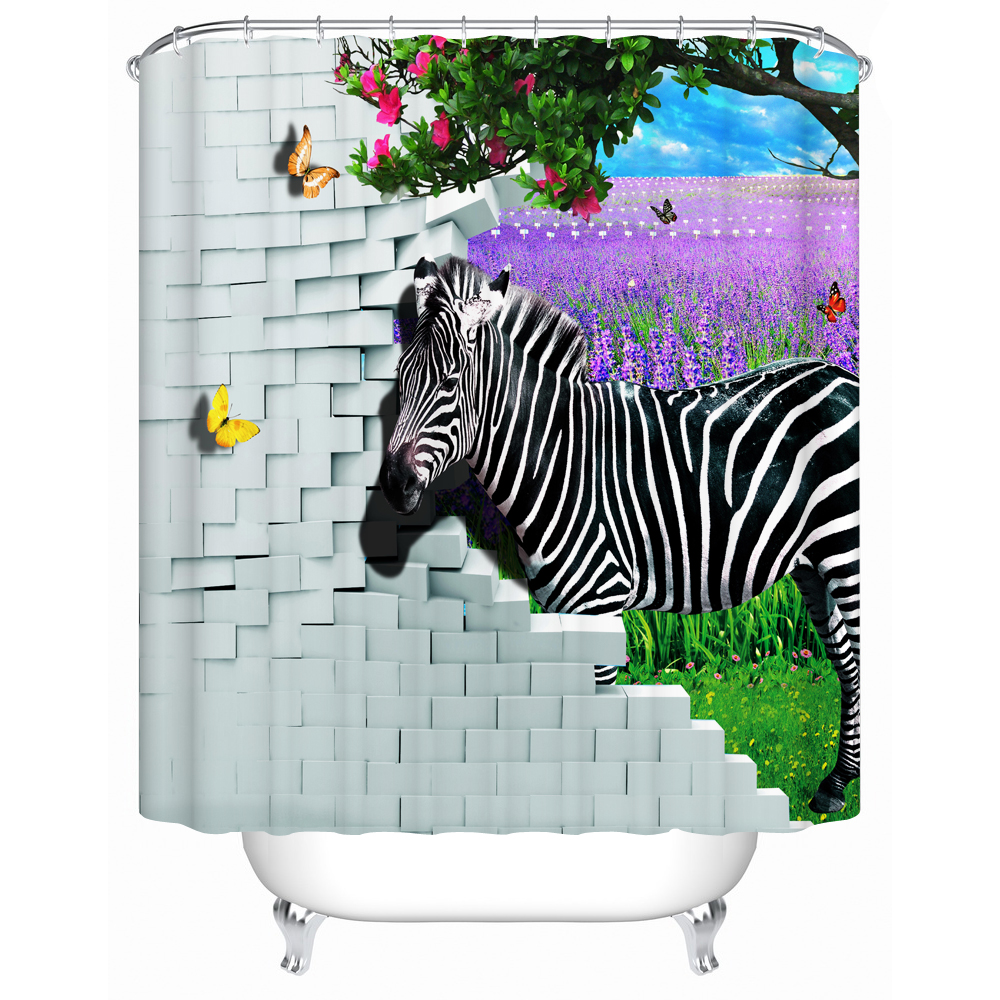 3d Zebra Shower Curtain for <font><b>Kids</b></font> Bathroom Water Waterproof Moldproof Fabric Printing Curtain Set with Hooks