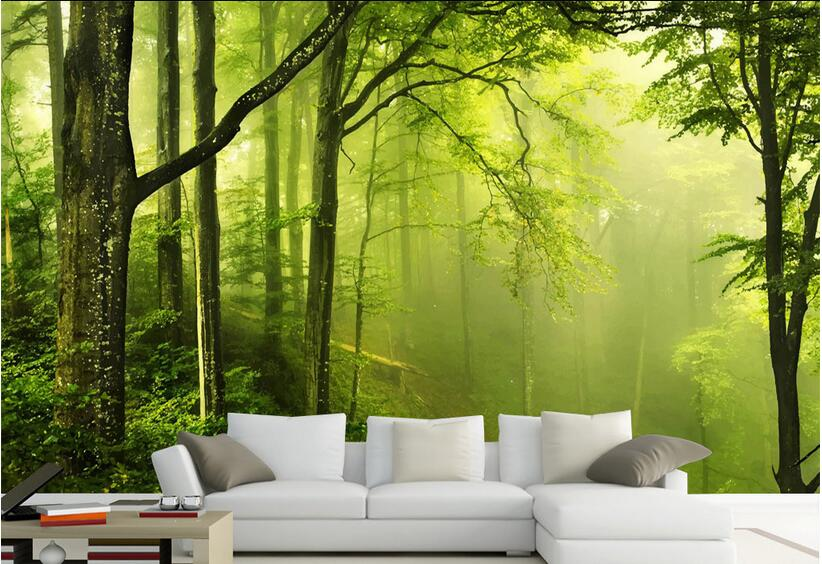 Us 15 04 46 Off 3d Room Wallpaper High End Custom Mural Non Woven Wall Sticker 3 D Green Forest Nature Painting Photo 3d Wall Murals Wallpaper In