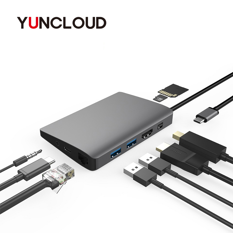 YUNCLOUD Laptop Docking Station USB C to Mini DP RJ45 Gigabit LAN HDMI 4K with 2*USB 3.0 Type C PD for MacBook Samsung Galaxy S9