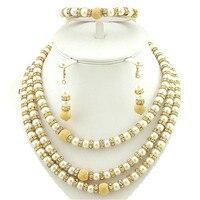 African Bead Jewelry Set 24k Gold Fine Jewelry Sets Women Necklace Wholesale Costume Jewelry Set