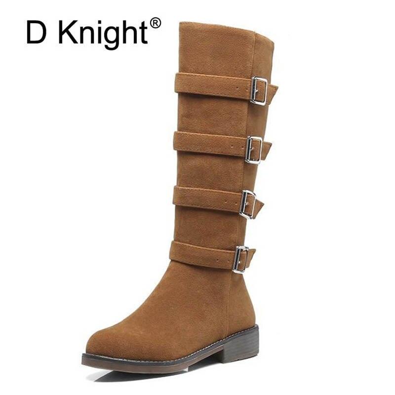 Dames décontracté plat genou bottes hautes Vintage troupeau boucle sangle décoration bottes d'hiver pour les femmes taille 33-43 femmes bottes d'équitation