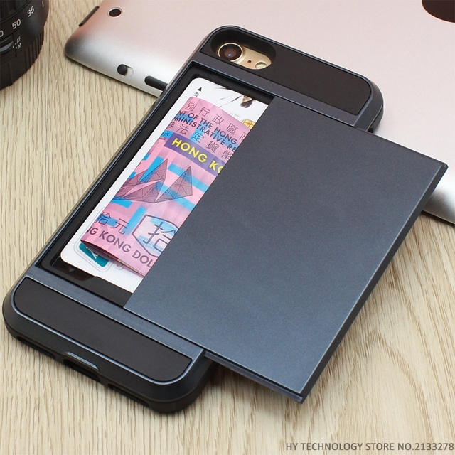 Armor Phone Cases for iPhone 5S SE 5 5C 6 S 6S 7 Plus Luxury Shell Silicone Plastic Credit Card Holder Slide Wallet Case Cover