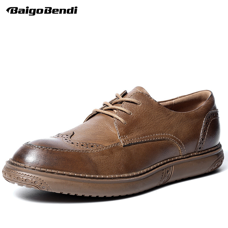 British Style Men Genuine Leather Brouge Shoes Boys New Spring Lace Up Casual Shoes Man Craved Flat Oxfords british style men real leather brouge shoes boys new spring zip retro casual shoes craved wing tips flat man oxfords