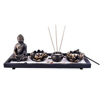 Feng Shui Zen Garden Sand Buddha Rocks Lotus Incense Burner W Fengshuisale Red String Bracelet Sku:H1023
