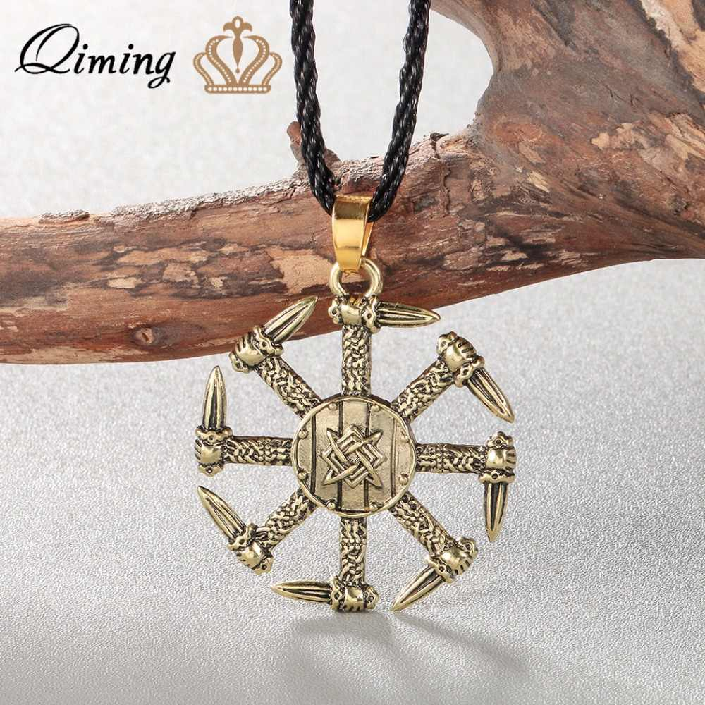 QIMING Silver Viking Necklace Men Pagan Jewelry Stunning Kolovrat Pendant Necklace Swords Charm Handmade Punk Women Jewelry