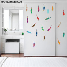 1PCS Colorful Feathers Wall Stickers For Bedroom Home Decoration DIY Style Mural Art PVC Decals stickers for home 30*60CM