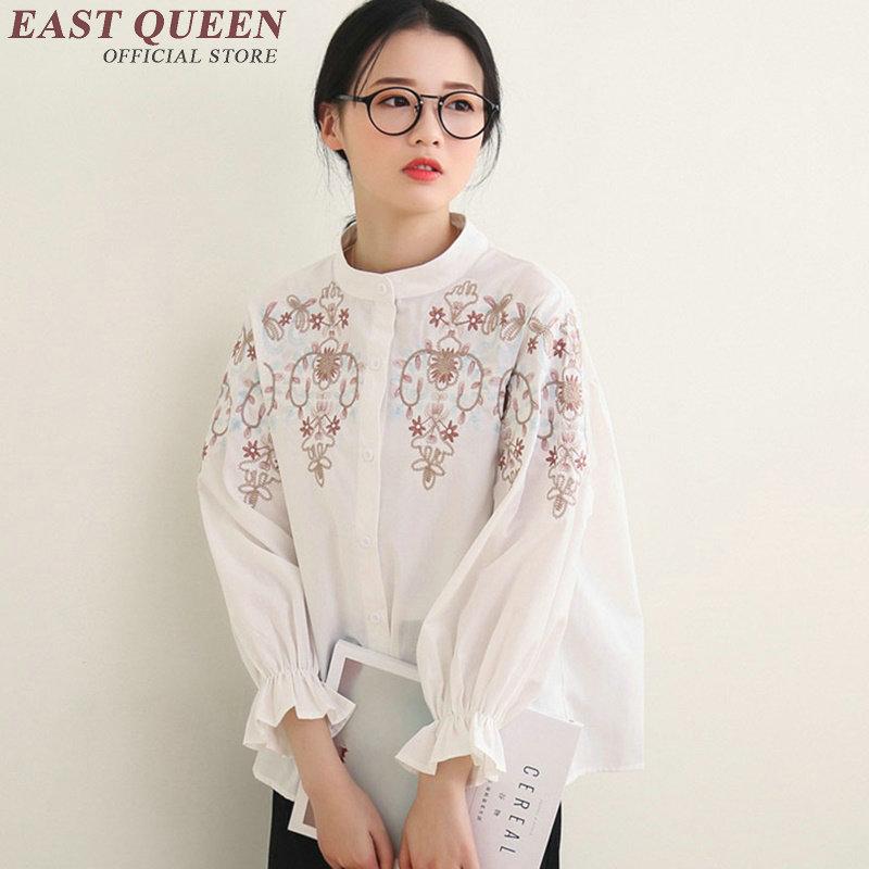 women shirt 2018 summer women blouse embroidered shirt button front high neck blouse embroidered white blouse AA1832 Q