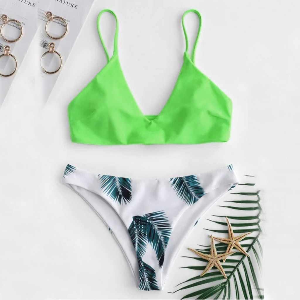 المرأة ملابس السباحة السيدات الصلبة مطبوعة دفع ما يصل مبطن البرازيلي بيكيني للشاطئ مجموعة الإناث مثير موضة ملابس السباحة بحر الصيف