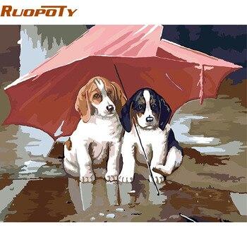 RUOPOTY Rahmen Doppel Hund Tiere DIY Malen Nach Zahlen Kits Handgemalte Öl Painitng Auf Leinwand Einzigartiges Geschenk Für Kinder geschenk