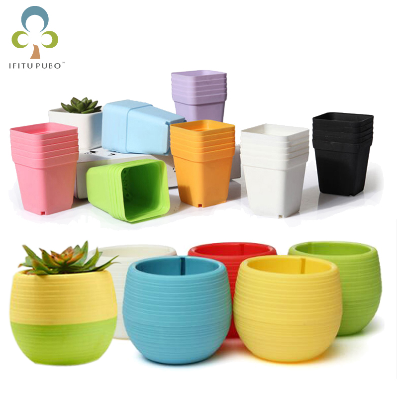 10Pcs/5Pcs Flower Pots Square Round Planters Pot Trays Plastic Pots Creative Small Pots For Succulent Plants Garden Decor GYH(China)