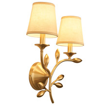 American style full copper wall lamp Fabric art country Toolery led Sconce Lamp Fixtures E14 bulb bedroom