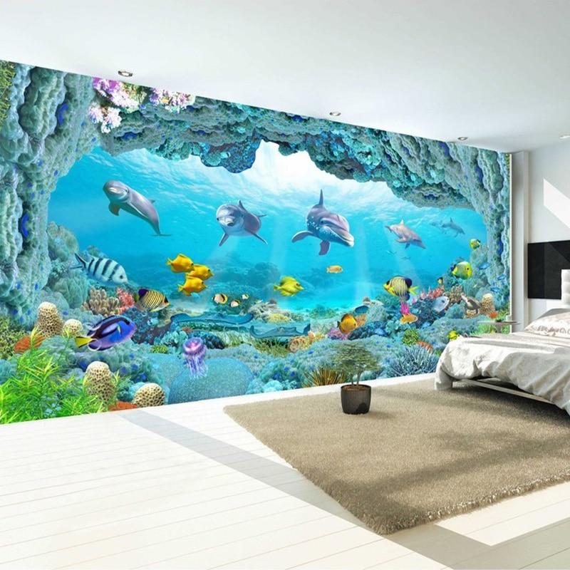 Custom Photo Wall Paper Underwater World Dolphin 3D Hotel Restaurant Bedroom Living Room Backdrop Decorative Wallpaper Murals world outside the window paper