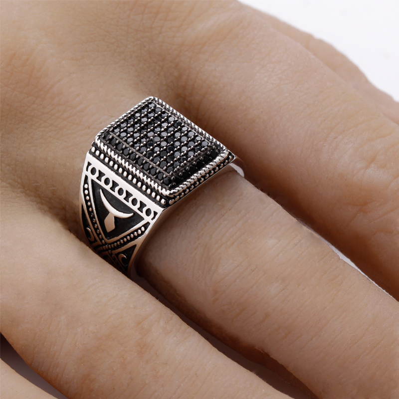Masssiver Mens Ring Black Stone Signet Ring Silver Ring 925 Silver//323