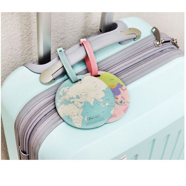 Round World Map Style Luggage Tag