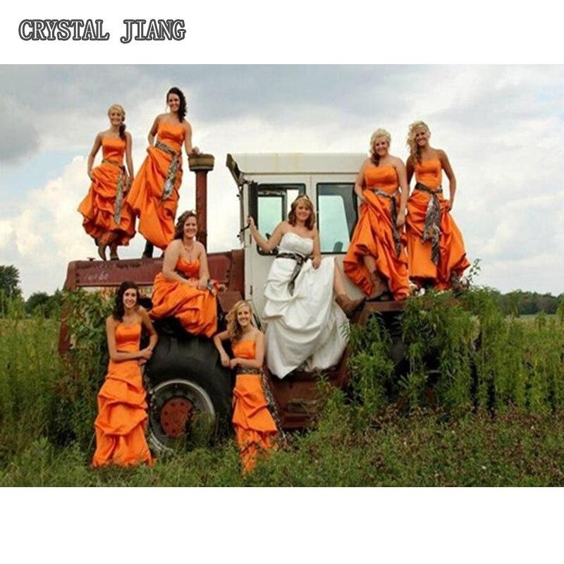 Robes de demoiselle d'honneur Camo longue robe de ramassage Orange chasseur pour le mariage d'automne