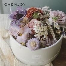 Круглые картонные коробки для цветов с крышкой, ведро для цветов, коробка для упаковки подарка, украшение для дома, свадебное украшение