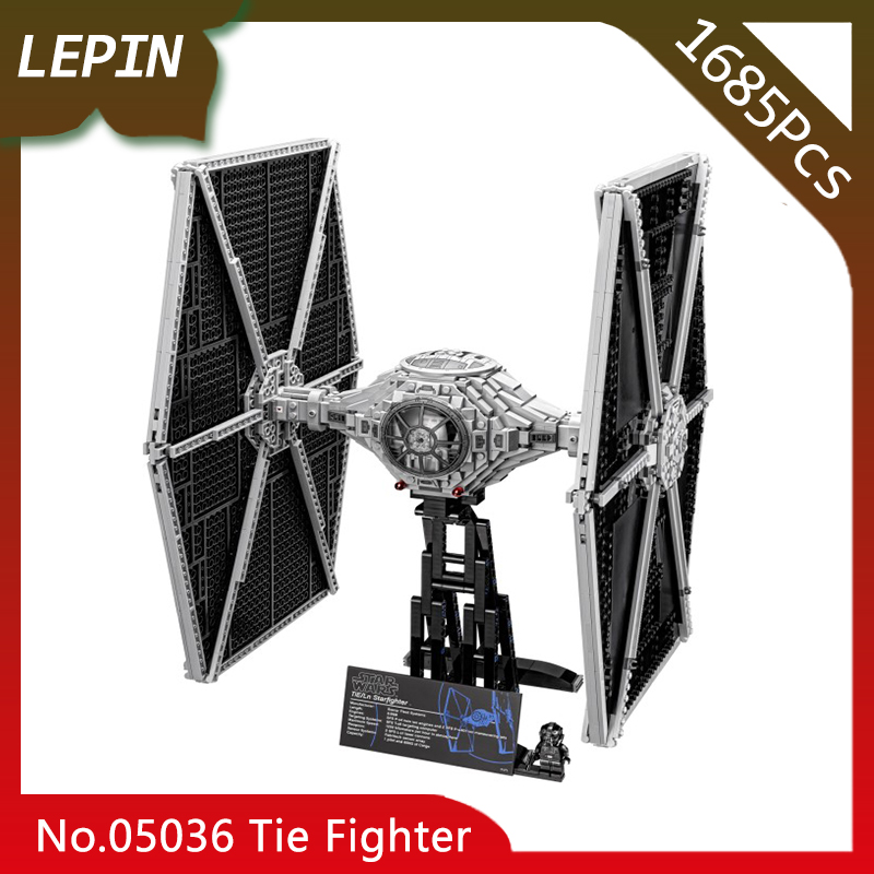 Lepin 05036 Tie Model Fighter Set Star Series War 1685pcs Building blocks Bricks Classic Compatible 75095 Boys Gift Doinbby dhl lepin 05055 star series military war the rogue one usc vader tie advanced fighter compatible 10175 building bricks block toy