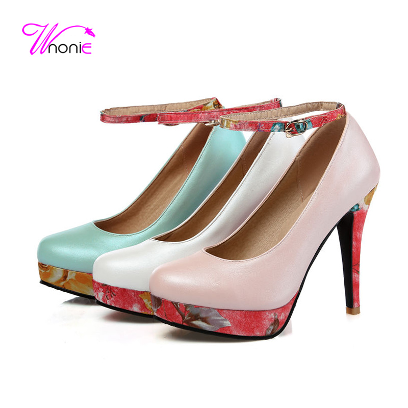 ФОТО 2017 Fashion Women Pumps Ankle Strap High Heels Flatform Round Toe PU Leather Buckle Spring Autumn Sexy Party Dress Ladies Shoes